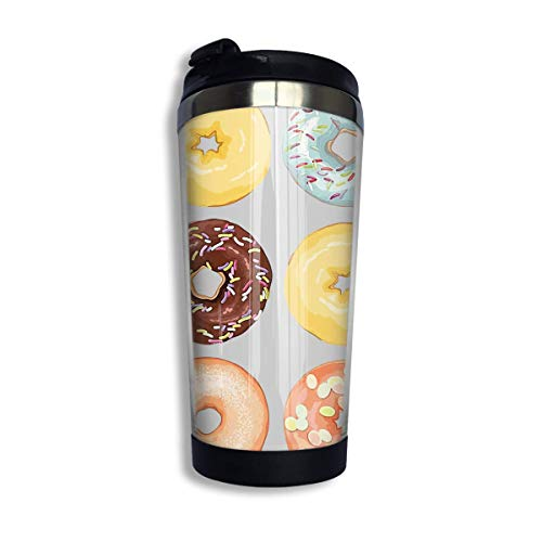 Stainless Steel Coffee Mugs Donut Travel Coffee Thermal Mug 10 Oz (400ml) Insulated Cup Perfect for Travel, Camping, Hiking, The Beach and Sports -