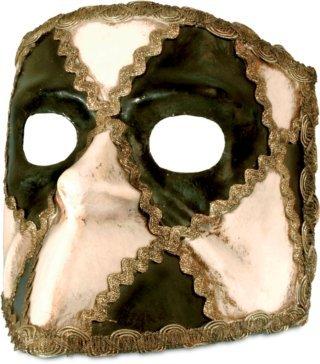 Venezianische Maske Bauta Schachbrett schwarz-weiß zu (Venezianische Bauta Maske Schwarze)