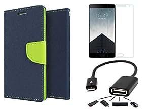 Online Street Combo Pack of Flip Cover For Apple Iphone 5/5S - (Blue Flip+ Tempered+OTG)