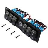 6 Gang 12v / 24v Wippschalter für Auto Marine Boat Circuit Breakers Überlastgeschützte LED-Licht Rocker Switch Panel Circuit - schwarz