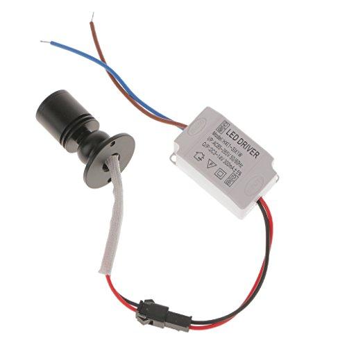 MagiDeal 1W Mini LED Lampe Einbauspot Nachtlicht DIY Beleuchtung mit Transformator für Schrank Weinschrank - Schwarz + Weiß 6500k