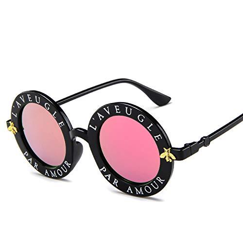 DZSF Koreanische Unisex-Version der Small Bee Round Frame-Trend-Sonnenbrille, UV-beständig mit Brillenetui,3