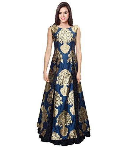 SONU CREATION Women's Crepe Silk Dress (rk 168_Blue_38)