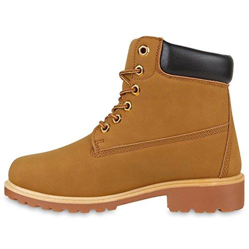 UNISEX Damen Herren Worker Boots Profil Sohle Stiefeletten Outdoor Schuhe Hellbraun