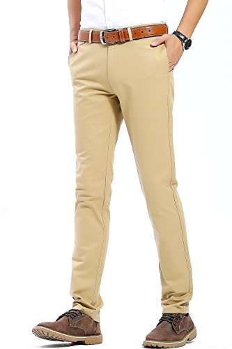 Flap-tasche Slim-jeans (INFLATION Herren Casual Hose Chino Stretch Stoffhose Chinohose Regular Fit HM101 Kamel 29)