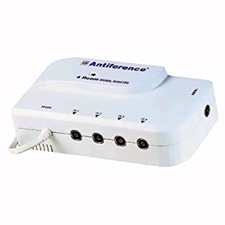Antiference 4 Way TV Signal Amplifier Booster Tuned to Cut Out 4G - White