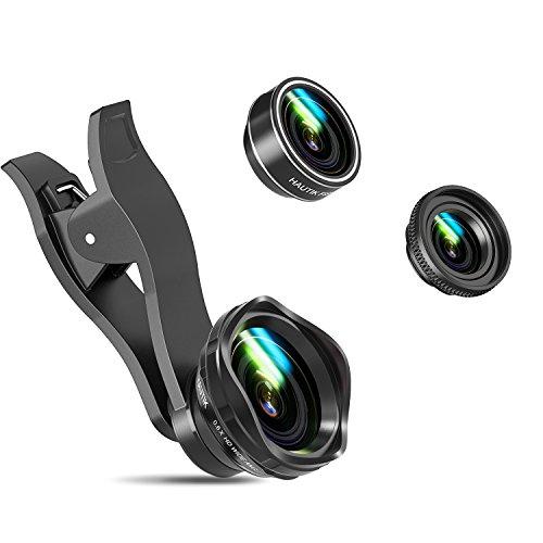 Lenti Smartphone HAUTIK 3 in 1 Lenti Kit Clip-On Lente Fisheye Suprema 198 Gradi + Lente Grandangolo 0.6X + Lente Macro 12X + Bastone Selfie, Obiettivi Cellulari per Smartphone, iPhone 8/8 Plus,7/7 Plus,6/6s Plus e iPad, Argento
