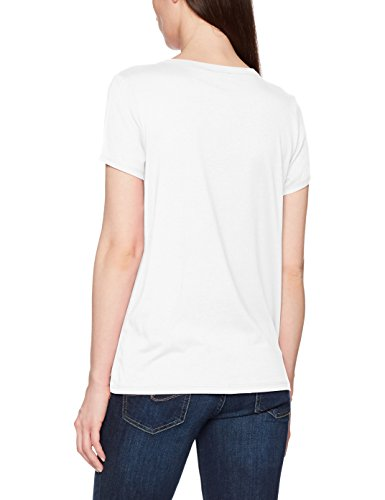 TOM TAILOR Damen Fabric Mix Pleat T-Shirt Beige (Whisper White 8210)