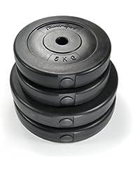 Disques d'haltères 30 kg Fitness Sports, 2x 10 kg et 5 kg 2x, 4x disques en PVC avec remplissage de sable, diamètre du trou: 30 mm, noir