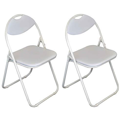 Chaise pliante rembourrée - pour le bureau - entièrement blanche - lot de 2