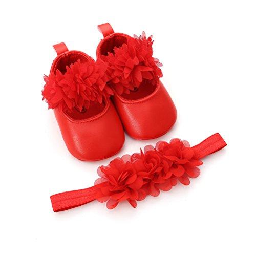 EDOTON Baby Mädchen Blume Schuhe mit Haarband Anti-Rutsch-Weiche Taufe Prinzessin Lauflernschuhe Sneaker für Kleinkind (0-6 Monate, Rot)