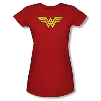 Wonder Woman Standard Icon Red Juniors T-Shirt Tee (Juniors Small)