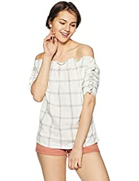 AND Women's Checkered Regular Fit Top (EC18A116TCH4CREAM8)