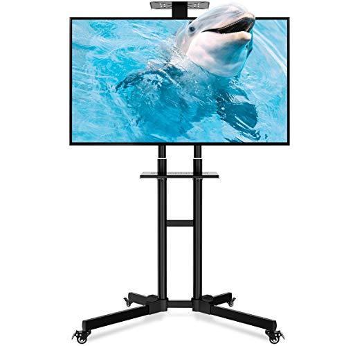 Mobile TV Ständer, Homemaxs Rollwagen TV Standfuß Cart mit Halterung & 2 Ablagen für LCD LED Plasma TV 32
