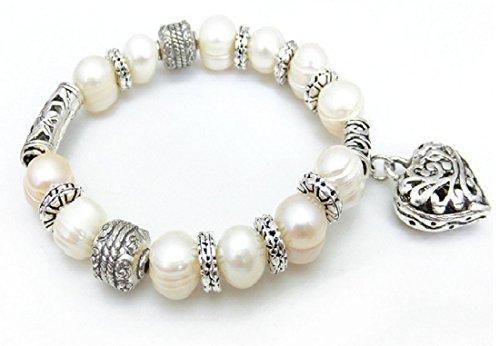 Vite d'acqua dolce, colore: bianco con perline a forma di cuore per bracciale Braccialetto (A00119)