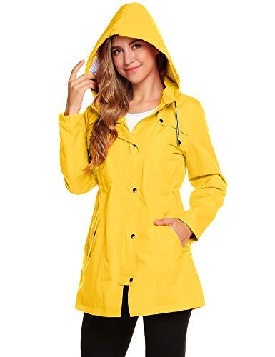 Regenjacke Gelb Damen Rains Regenmantel Windjacke Lang Kapuzenjacke Wasserfeste Windbreaker Trekking Funktionsjacke Outdoor Jacke M