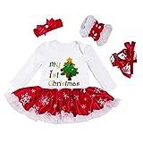 Bambina Natale costume della Santa del partito Romper + Fascia + Scarpa + Leggings 4pcs, 3-6 mesi