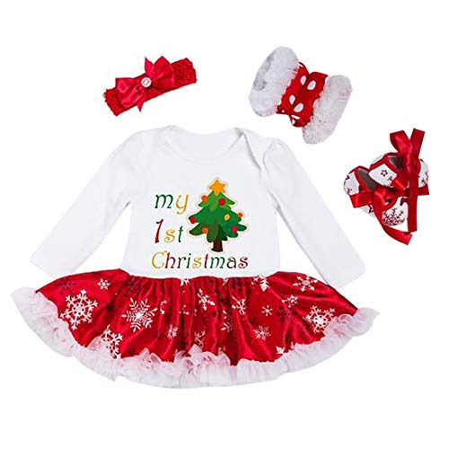Bambina Natale costume della Santa del partito Romper + Fascia + Scarpa + Leggings 4pcs, 12-24 mesi