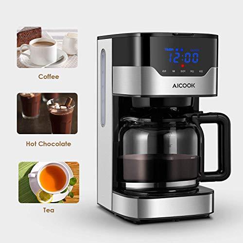 Aicook Cafetera, Cafetera de Goteo, Pantalla Táctil con Reloj, Cafetera Goteo Programable para 12 Tazas, Máquina de café Filtro Permanente, Tanque de Agua DE 51 oz/ 1.5 litros/ 12 Tazas/ 900W, Negro