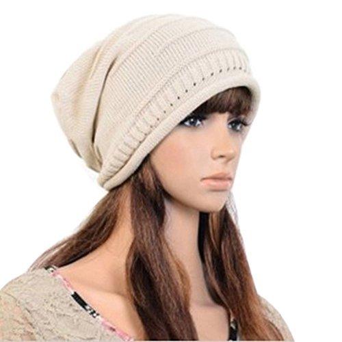 Fashion Hip-Hop Warm Soft Stretch Knit Crochet Slouch Beanie Hat Skull Cap (beige) Soft Knit Schal