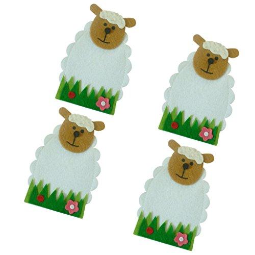 Kostüm Lamm Vintage - SunniMix Schafe Form Geschirr Halter Besteck Taschen aus Vliesstoff Set/4 Stücke