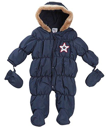 BABY TOWN - Tuta da neve con cappuccio, pelliccia finta, unisex, per bambini Blue Neonato