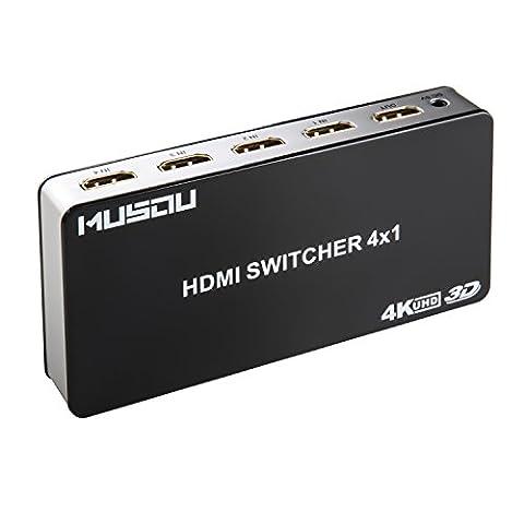 Musou 4 Ports 4Kx2K Commutateur HDMI Switch Box 4x1 (4 entrées 1 Sortie) Sélecteur HDMI Automatique Avec IR Télécommande sans fil,Support 3D 4K 1080p Full HD HDCP1.4