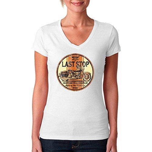 Biker Girlie V-Neck Shirt - Last Stop Motorcycle Repair by Im-Shirt Weiß
