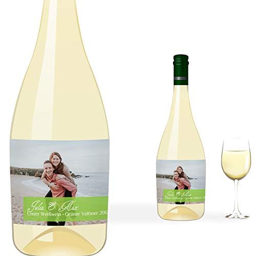 greetinks 5 x Personalisierte Flaschenetiketten 'Bilder Welt' in Grün | Individuelle Etiketten für Flaschen | 5 Stück Etikett selbstklebend - Hochzeit, Geburtstag - Tisch Deko, Geschenk