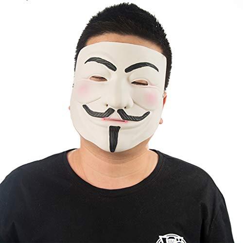 V-Vendetta Maske Halloween Weihnachten Maske Gesichtsmaske Cos halbe Gesicht Tod Horror Erwachsene männliche Maske Werwolf töten Maske Masken (Color : Weiß, Size : 29CM/11inch)