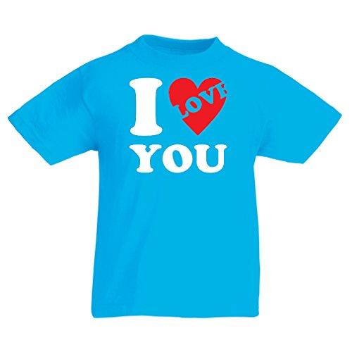 Kinder T-Shirt Ich liebe dich! - Valentinstag Geschenke (5-6 years Hellblau (Kostüme Süße Selbstgemachte Kinder Für)