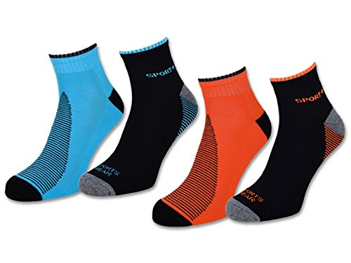 4 | 8 | 12 Paar NEON Sportsocken Sneaker Socken Herren mit verstärkter Frotteesohle - 16209 (39-42, 4 Paar | Blau & Orange)