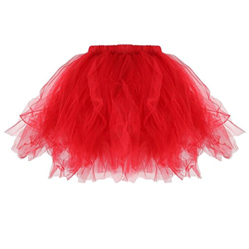 Kanpola Damen Plissee Tutu Erwachsenen Tutu Rock Plissee Mini Röcke (M /Gr 38, Rot) (Pullover Empire-taille-wolle)