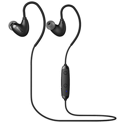 Aukey cuffie bluetooth 4.1 auricolari wireless sportive stereo con microfono per iphone, samsung, htc e tablet come ipad ecc (nero)