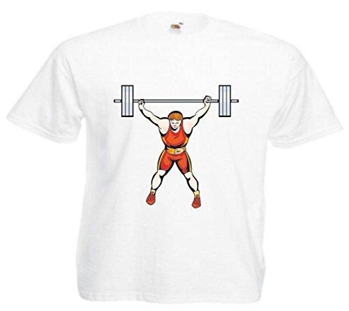 Motiv Fun T-Shirt Bodybuilding Bodybuilder Gewichtheben Sport Motiv Nr. 4864 Weiß