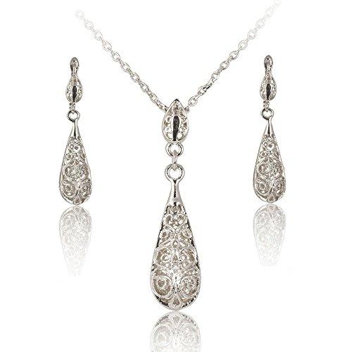 Fashion Plaza - Hook S117, Parure di orecchini a clip e collana TearDrop placcati in argento anticato, motivo a lacrima