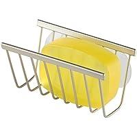 mDesign portaestropajos de metal inoxidable con ventosas - Organizador de fregadero para su esponja o bayeta - También adecuado para el cuarto de baño