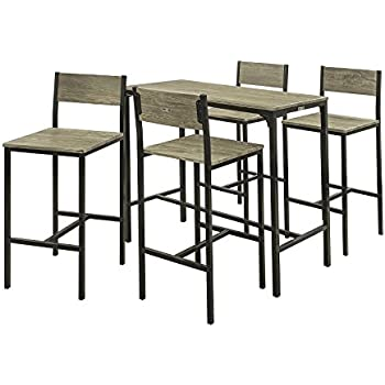 75b230f3658b8 SoBuy® OGT14 Set de 1 Table + 4 chaises Ensemble Table de Bar + 4 tabourets  de Bar avec Repose-Pieds Table Mange-Debout Table Haute Cuisine