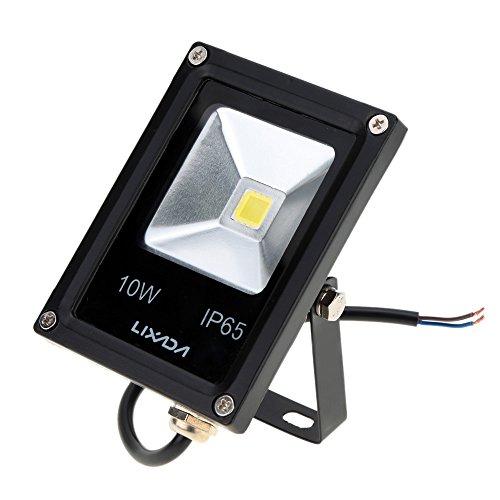 Lixada 10W DC12V IP65 Ultradünne Schwarz Aluminum LED Flut Licht hohe Leistung Epistar Span ausgeglichenes Glas-Außen Garden Square Yard Landschaft