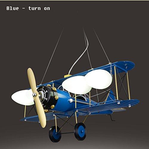 Guo Kinderzimmer-Lichter Jungen-Raum-Flugzeug-Kronleuchter-Pers5onlichkeit-kreative Lampen E27 Lampen-Hafen ( farbe : Blau ) - 2