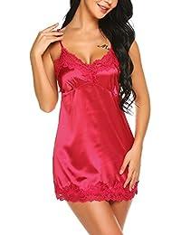 44e4980821ee9f Skine Damen Satin Nachthemd mit Spitze Negligee Sexy Babydoll V-Ausschnitt  Spitze an Brust Nachtwäsche