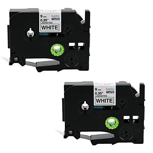 Kodex 2x Schriftband für Brother TZe-221 Label Tape /Label Cassette Schwarz auf Weiß 9mm x 8m Kompatibel zu TZE-221 Geeignet für Brother P-Touch 1000W 1000 2100 2030 1830 7600 VP 2430 1230 9700