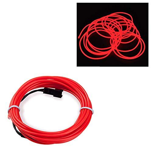 SATISFIED EL Wire Neon Kabel, Rot 1M, LED Leuchtet Tron Electroluminescent, LED Blinkend, Weihnachten, Halloween Party, Kostüm Konzert Rave,Nachtclubs (Tron El Draht Kostüm)