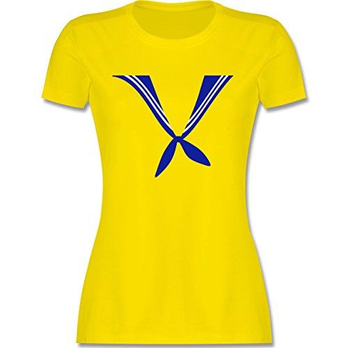 Karneval & Fasching - Matrose Kostüm Tuch - tailliertes Premium T-Shirt mit Rundhalsausschnitt für Damen Lemon Gelb