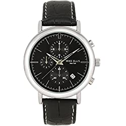 Mike Ellis New York Men's Quartz Watch with Black Dial Analogue Display and Leather Black - SM2960A