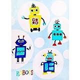 i-baby Coperte grandi e morbide di lusso per bambini, coperte calde e leggere, coperte per bambini da 100x120cm, (Ciao robot)