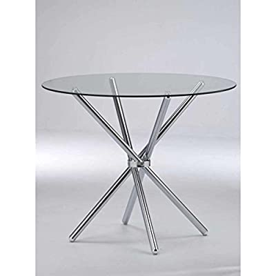 VERONA ROUND DINING TABLE-Clear Tempered Glass/Chrome Legs - inexpensive UK dining table shop.