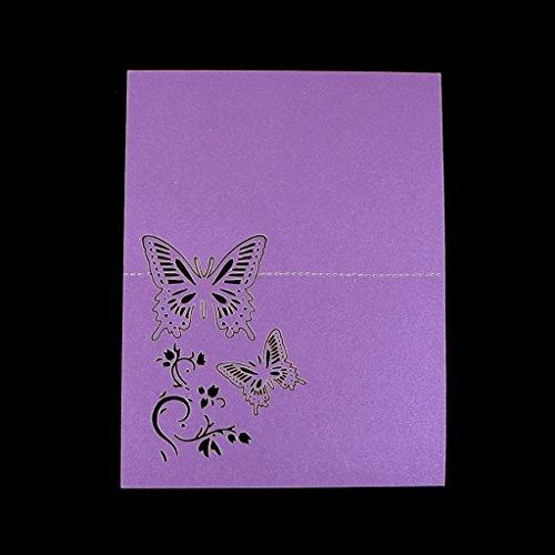 Manyo 50 Stück Tischkarten, Schmetterling Dekor, 3 Farben für die Auswahl, ideale Dekoration und Geschenk für Hochzeitstag, Hochzeit, Geburtstage, Party, Festival. (Lila)