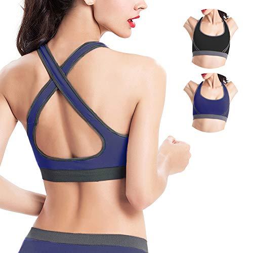 SANMIO Yoga Sport BHS für Damen, Sport Bra Medium High Underwear Active Höhe Bustier Cotton Bralette Atmungsaktiv Ohne Bügel für Sports Bra