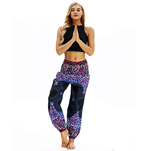 Lazzboy Harem Pants Boho Beiläufige lose Hippie-Yoga-Hosen Baggy Aladdin (Violett) -